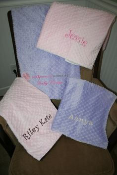 Personalized Premium Minky Dot Blanket by EmbroideryMark on Etsy, $28.50 Several colors and styles to choose from. Perfect for baby showers, baptisms, or new baby gifts. See our full selection at www.embroiderymark.etsy.com