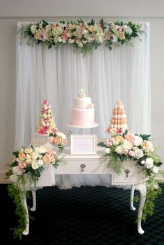Gorgeous Christening baptism party! See more party planning ideas at CatchMyParty.com!