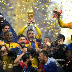"""FIFA World Cup on Twitter: """"#FRA are the raining/reigning #WorldCup champions!   Sorry/not sorry about that pun. ☔️… """" Neymar, Messi, Fifa World Cup 2018, World Cup Russia 2018, First World Cup, World Cup Final, Manchester City, Ronaldo, Moscow"""