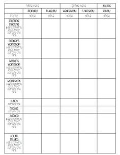 Blank Preschool Weekly Lesson Plan Template My Printable - Preschool weekly lesson plan template