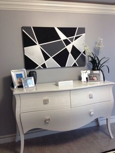 DIY canvas painting! Black and white, under $50 for all materials bought at Michaels. So easy! Maybe could do this is Black, Gray, and Purple Accents?