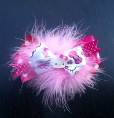 Hello Kitty  Hairbow with  marabou feather by PinkToesAndHairBows, $6.95
