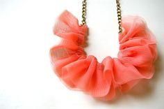 Peach ruffle necklace<3
