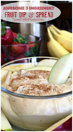 AWESOME 3 INGREDIENT FRUIT DIP & SPREAD (Made with Cream Cheese) - This recipe is as simple as they get and fantastic! Made with 3 ingredients and ready in about 3 minutes! The perfect dip to serve at parties, picnics, potlucks, brunches, showers and other social gatherings.    SweetLittleBluebird.com