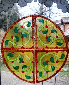 4 CORNERS wicoart HANDMADE STAINED GLASS EFFECT WINDOW CLING EASY TO APPLY AND TO REMOVE HAND PAINTED WITH GALLERY GLASS AND GLASS PAINT PEBEO ON AN ELECTROSTATIC VINYL SHEET ONE OF A KIND OOAK