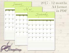 2017 Calendar Printable Calendar Green Printable by DoortjeDesign eU FAZIA O DO MES-TERMINAVA JÁ ESTAVA PRONTO O DO MES QUE ENTRA. DEIXAVA ESPAÇO EMBAXO COMO ESSE- OBS + IMPORTTE.