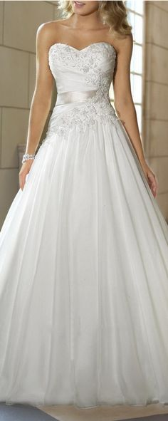 White Ivory A-Line Bridal Gowns Wedding Dress Custom Size