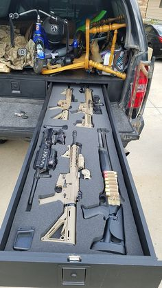 Truck Bed Drawers Fully Stocked                                                                                                                                                                                 More Bed With Drawers, Revolver, Tactical Gear, Tactical Truck, Truck Bed Storage, Truck Bed Drawers, Overland Truck, Expedition Truck, Secret Gun Storage