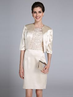 2017 Lanting Bride® Sheath / Column Mother of the Bride Dress Knee-length Half Sleeve Satin with Appliques / Beading - USD $85.49 ! HOT Product! A hot product at an incredible low price is now on sale! Come check it out along with other items like this. Get great discounts, earn Rewards and much more each time you shop with us!