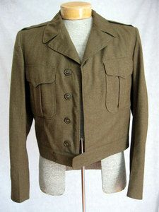Eisenhower Jacket:  This jacket also known as the battle jacket was popular in the 1940's.  It was a short, belted at the bottom jacket which was influenced by the military jackets.