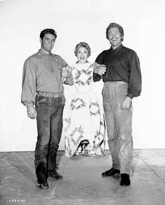 Howard Keel, Jane Powell and one of the brothers on the set of Seven Brides for Seven Brothers!