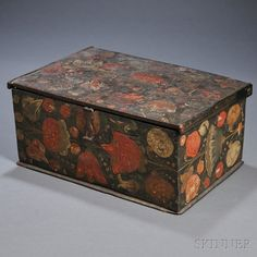 """Floral Paint-decorated Wooden Box, probably northern Europe, early 17th century, rectangular beechwood box with pintle hinge on lid, wrought iron latch, decorated on the top and sides with polychrome stylized flowers and leaves, with the date """"1613"""" inscribed on the lower front panel, ht. 6 3/8, wd. 13 3/4, dp. 9 5/8 in."""
