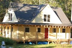 "This home was built in Maine and it's owner/builder chose the wrap-around porch. He now has ""a great view of the Atlantic some away"" - Pole Barn House Kits, Pole House, Pole Barn Homes, 30x50 House Plans, A Frame House, Tiny House Cabin, Barn Plans, Small Places, New House Plans"