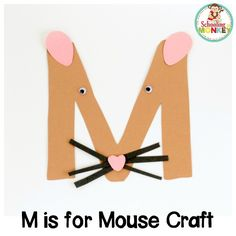 Learning the letter M has never been as fun as it is when you make this M is for mouse letter craft! This kindergarten alphabet activity is super fun! Preschool Letter M, Letter M Activities, Alphabet Activities Kindergarten, Alphabet Letter Crafts, Abc Crafts, Mouse Crafts, Daycare Crafts, Preschool Themes, Preschool Activities