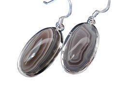 Sterling Silver 10x20mm Oval Botswana Agate Drop Earrings