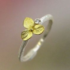 Hydrangea Blossom, Diamond Stacking Ring, Engagement ring Sterling Silver, Size, 18k Gold Flower, Made to order