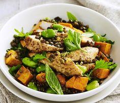 Spiced chicken, lentil and pumpkin salad