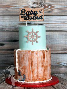 "Nautical ""Baby on Board"" sailing theme baby shower cake"