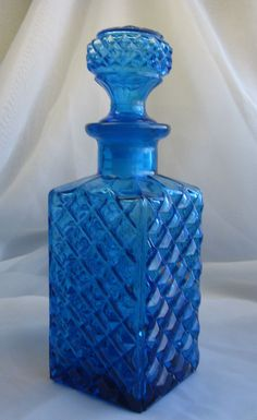 Vintage Decanter Diamond Pressed Glass Stopper Whiskey Bourbon Bar Mid Century