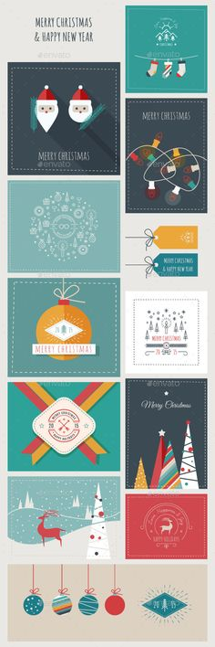 New Year and Christmas Greeting Cards and Banners Template Vector EPS, AI #design Download: http://graphicriver.net/item/new-year-and-christmas-greeting-cards-and-banners/9793384?ref=ksioks