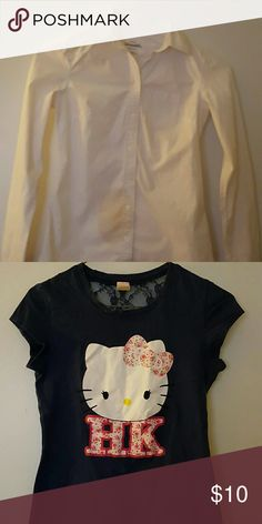 2 FOR 1 SALE! Adorable Hello Kitty Tee in Navy with lace back neckline & white Aeropostle  cotton button up.  Wear together or separate.   FITS GIRL SIZE 12 OR JR. SIZE XS. Aeropostale Shirts & Tops Button Down Shirts
