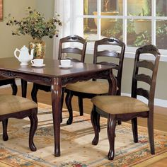 "Furniture of America Le Deveaux Dark Walnut Dining Chairs (Set of 2) - 20 1/2""W X 23 1/2""D X 40 1/2""H (Seat Ht: 19 3/4"", Black Glass Dining Table, Wooden Dining Table Designs, Dinning Table Design, Walnut Dining Chairs, Wooden Dining Tables, Dining Chair Set, Dining Room, Kitchen Chairs, Transitional Dining Tables"