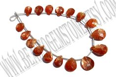 Sunstone Faceted Pear (Quality AAA)  / 7.5x10 to 11x15.5 mm / 10 to 12 Grms / 18 cm / SU-032 by beadsogemstone on Etsy