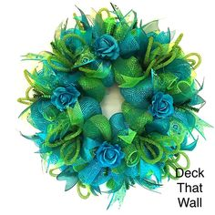 Turquoise Green Peacock Mesh Wreath