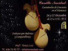 #CASTAÑUELAS de CONCIERTO en el #FLAMENCO - Profª. Teresa Laiz  #Cursillo Intensivo de #Navidad en #Madrid - Spain -  26 y 27 #Diciembre 2016, de 11 a 15 h (Soleares por Bulerías y Campanilleros) Reserva tu plaza ya! En Centro de Arte Flamenco y Danza Española Amor de Dios. C/Santa Isabel, 5 - Madrid (Metro Antón Martín) - Spain -  #Teresa Laiz - Tf./whatsapp: (+34) 636739377 - info@teresalaiz.com Precio: 95 € (8 horas)