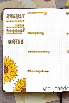 If you want to change your theme for the month, you neee to check out these colorful sunflower bullet journal spreads for inspiration! Bullet Journal August, Bullet Journal Tracker, Bullet Journal Cover Ideas, Bullet Journal Banner, Bullet Journal Lettering Ideas, Bullet Journal Notebook, Bullet Journal School, Bullet Journal Spread, Bullet Journal Inspiration