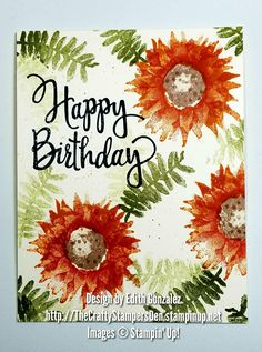 Stampin' Up! Painted Harvest and Stylized Birthday stamp sets paired together to make a simple one layered birthday card. Visit my online store to purchase either set or both. Thanks for stopping by!