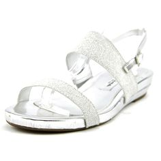 """Nina Women's Barrie-YY Dress Sandal, Silver, 6.5 M US. Heel Height: 3/4"""". Origin: Imported. Fit: True to Size. Outsole: Synthetic. Upper: Vinyl."""
