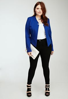 Plus Size FOREVER 21+ Collarless Notched Jacket