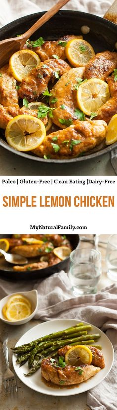 Simple Lemon Chicken Recipe {Paleo, Gluten-Free, Clean Eating, Dairy-Free} - this has a simple breading and after it's all golden brown, you make a quick lemon sauce right in the pan. I've made this hundreds of times and I still love it. Make extra sauce  (Quick Diet Dinner)
