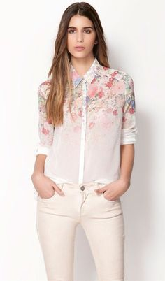 White Long Sleeve Floral Chiffon Blouse US$29.00