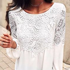 Round Neck Decorative Lace Patchwork Plain Long Sleeve T-Shirts – blinglikes Lace Cuffs, High Quality T Shirts, Dance Dresses, Couture Fashion, Long Sleeve, Womens Fashion, Sleeves, Clothes, Tops
