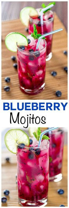 Blueberry Mojito: Cool off this summer with sweet blueberries, tart limes, and a refreshing splash of rum. This cocktail will sweep you away like a cool island breeze & is perfect for lazy summer afternoons!