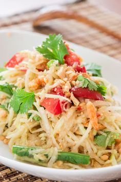 Green Papaya Salad. (Thai) Green papaya is sold in Asian markets. Had this salad in a Thai cooking class & used fresh cooked shrimp, in place of dried. Salad was delicious, adding cooked shrimp when tossing with dressing mixture..