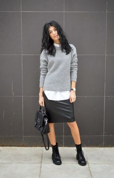 This combo of a grey oversized sweater and a black leather pencil skirt will attract attention for all the right reasons. Why not add black leather boots to the mix for a more relaxed feel?  Shop this look for $129:  http://lookastic.com/women/looks/pencil-skirt-satchel-bag-dress-shirt-oversized-sweater-boots/6591  — Black Leather Pencil Skirt  — Black Leather Satchel Bag  — White Dress Shirt  — Grey Oversized Sweater  — Black Leather Boots