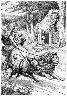 Admetus heeded neither shepherd nor shrine ... Illustration by Frank C. Papé from 'Children of the Dawn' (1908)