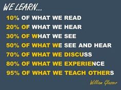How We Learn - Experiencing, discussing, teaching others = great methods. Learning -- by William Glasser - How to Learn Coursera course RT Teaching Quotes, Education Quotes, Study Skills, Life Skills, Thinking Skills, Critical Thinking, Teaching Strategies, Teaching Resources, School Study Tips