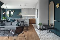 This original 850 sq ft apartment located in Gdańsk, Poland, has been designed in 2018 by Raca Architekci. Sala Grande, Terrazzo Flooring, Apartment Design, Small Apartments, Decoration, Colorful Interiors, Interior Design Living Room, Interior Architecture, Art Deco