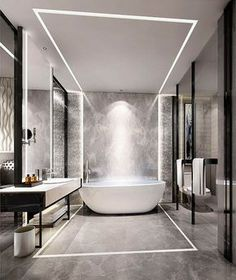 The bath tub is the emphasis of the bathroom because the lighting directs us to it.