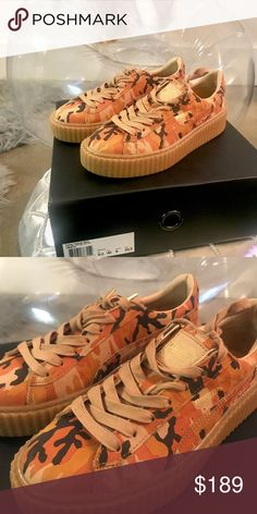 PUMA X Rihanna Fenty Women's Camo Creepers US 9 ***Serious inquiries only***  Chameleon Unleashed X Poshmark.   Get your hands on the exclusive Camo/Oatmeal Fenty x PUMA Creepers.  They are gently used, and only worn once. There are very few signs of wear. This shoe is true to size and is a US 9, UK 6.5, and EUR 40. The box will not be included in order to reduce shipping costs, but the shoes will be delivered in the original Fenty x PUMA logo drawstring bag.    Follow my brand on Instagram…
