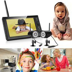 "Floureon® Digital Wireless Outdoor 4 CCTV Camera System 7"" LCD Baby Monitor DVR Record to SD TF"