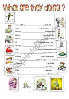 Present continuous worksheet - ESL worksheet by fernis English Teaching Materials, English Teaching Resources, English Worksheets For Kids, English Activities, Reading Worksheets, Present Continuous Worksheet, Present Continuous Tense, English Lessons, Learn English