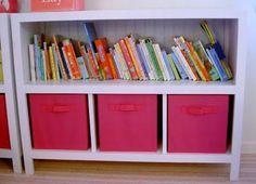 DIY Bookshelves with fabric storage bins, Diy Storage Shelves, Toy Shelves, Fabric Storage Bins, Fabric Bins, Cupboard Storage, Toy Storage, Buy Fabric, Shelf, Cube Shelves