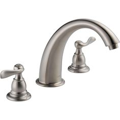 Delta Windemere 2-Handle Deck-Mount Roman Tub Faucet Trim Kit Only in Stainless (Valve Not Included)