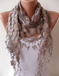 Light Brown Lace Shawl / Scarf  with Lace Edge by SwedishShop, $17.90