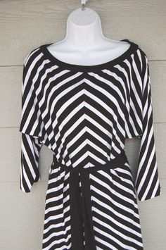 White House Black Market Dress Tunic Large Striped Belted 3/4 sleeve in Clothing, Shoes & Accessories | eBay